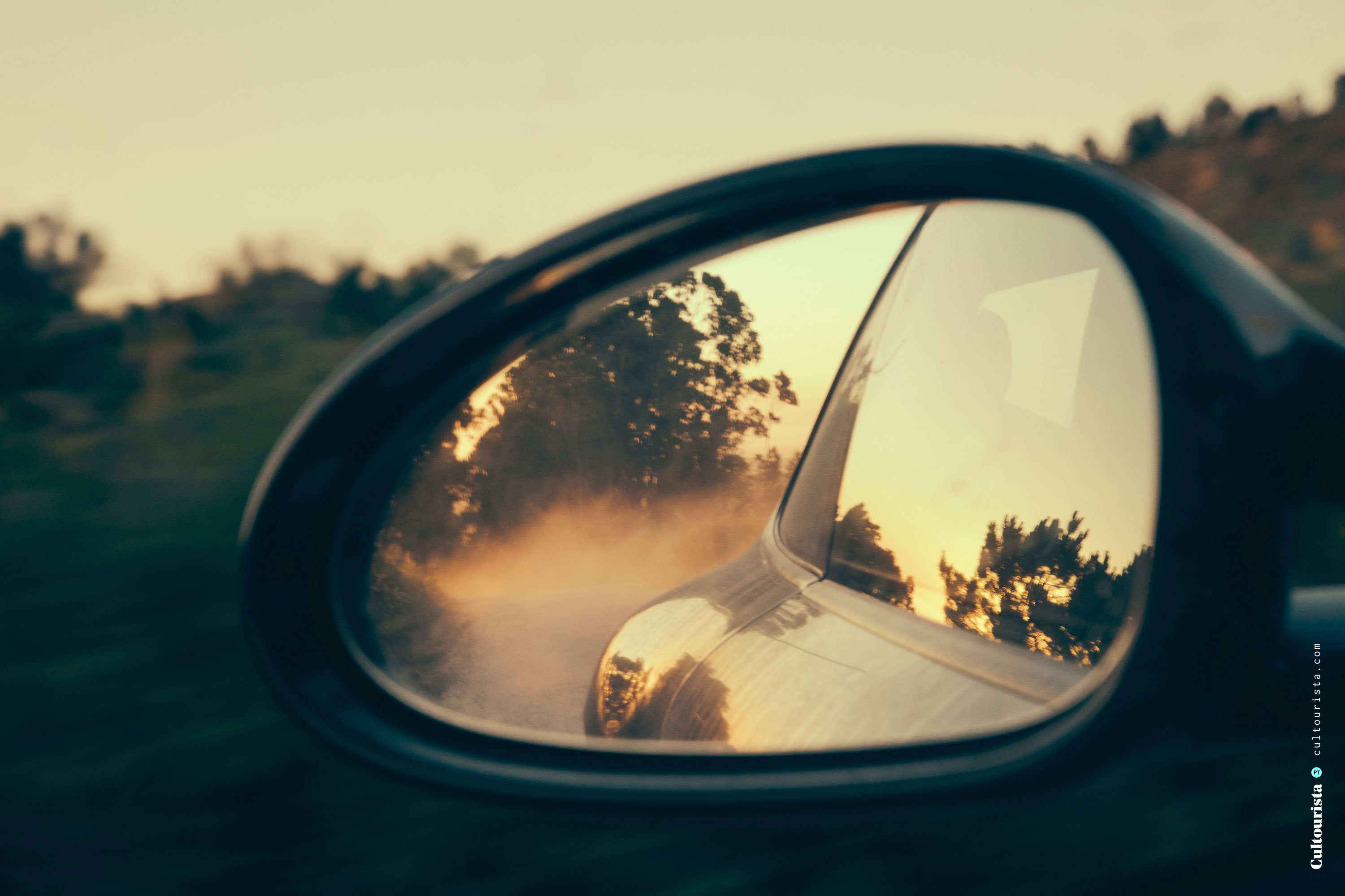 Car mirror in the sunset at Foia Monchique Algarve