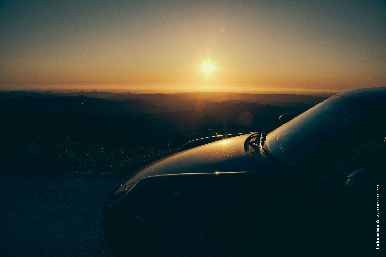 Car in the sunset at Foia Monchique Algarve
