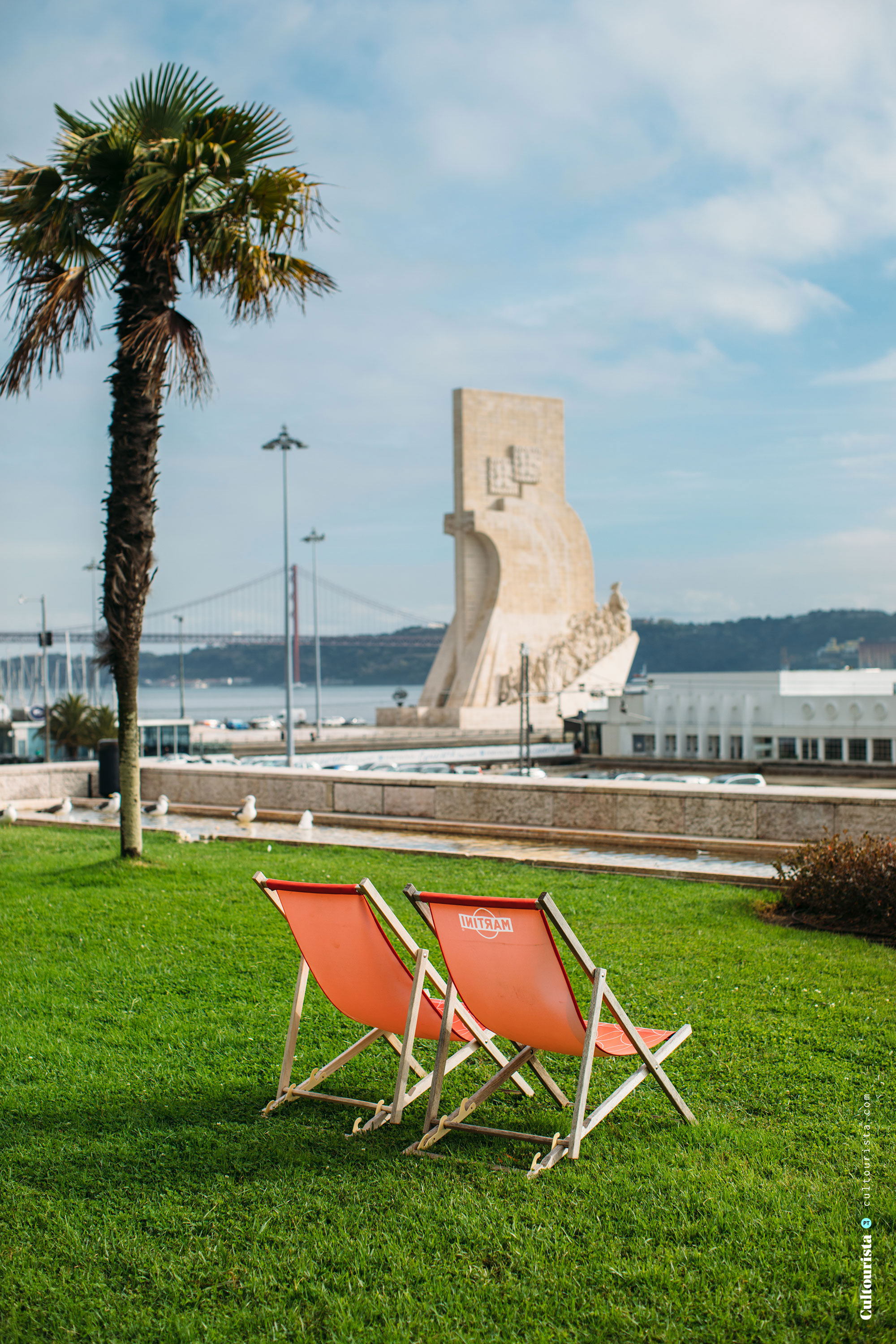View of the Padrao dos Descobrimentos from the restaurant Este Oeste in Lisbon