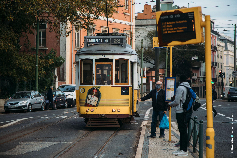 28 tram by the Jardim da Estrela park in Lisbon Portugal