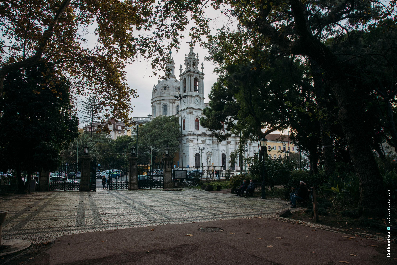 Basilica da Estrela seen from the park in Lisbon Portugal