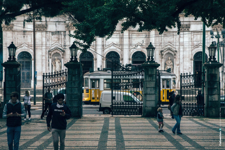 Main gate at the Jardim da Estrela park in Lisbon Portugal