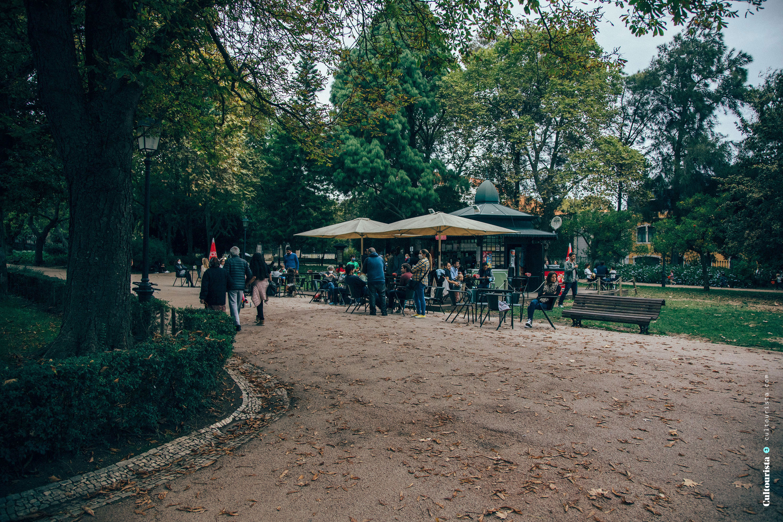 Cafe at the Jardim da Estrela park in Lisbon Portugal
