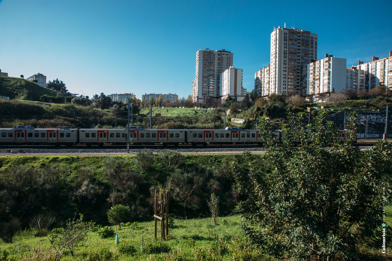 Train by the Bela Vista Park in Lisbon Portugal