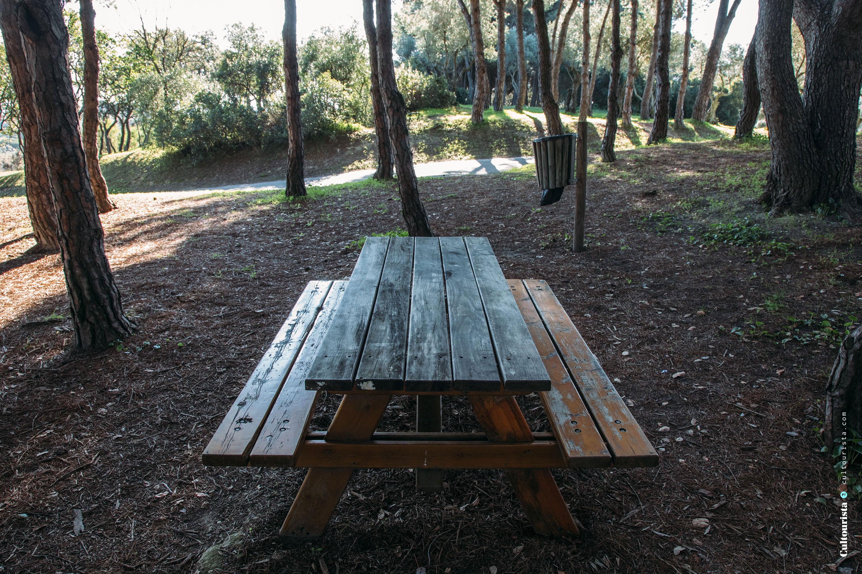 Picnic table at the Bela Vista Park in Lisbon Portugal