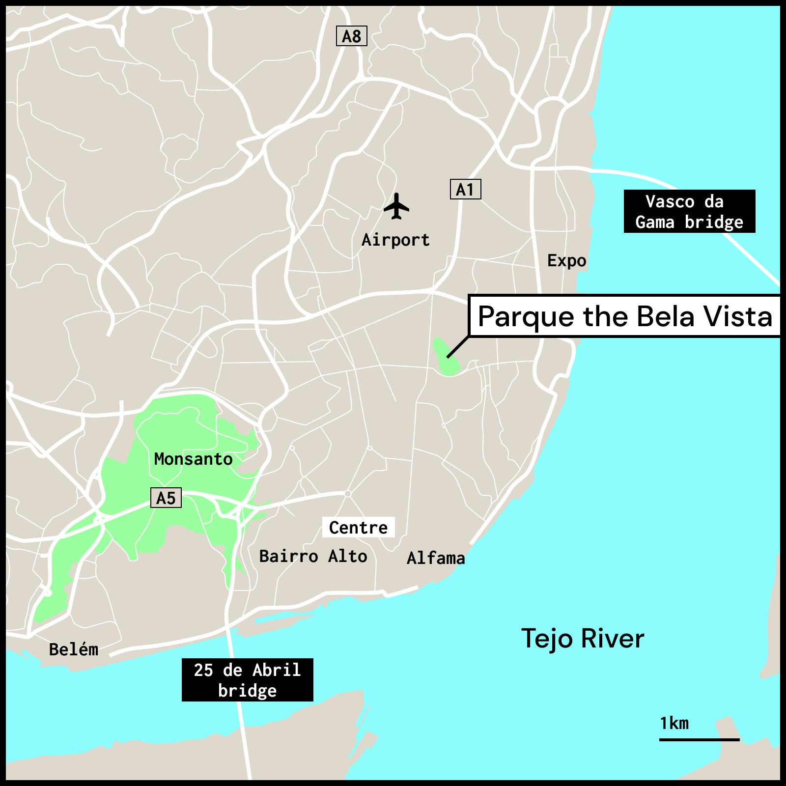 Map showing Bela Vista Park in Lisbon Portugal