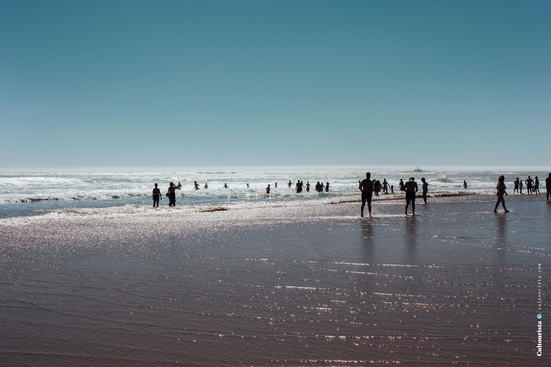 Swimmers at the Costa da Caparica beaches