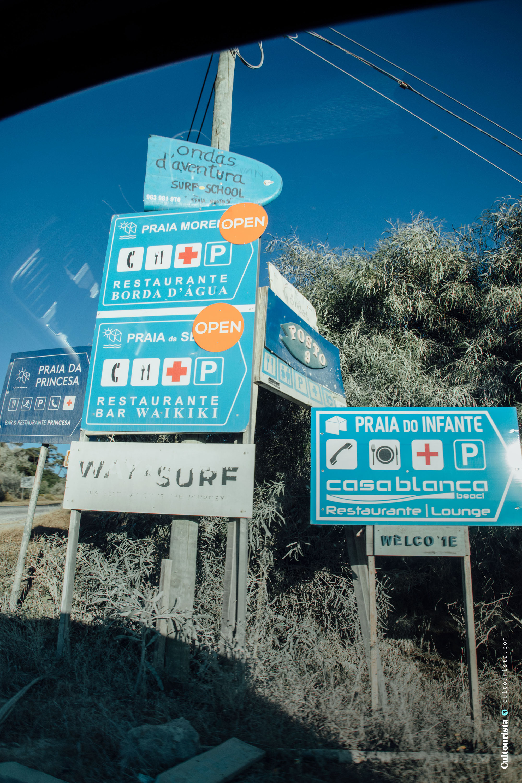 Signs to beaches at Costa da Caparica