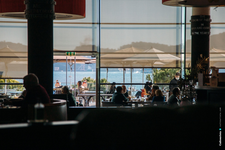 Dining room at the restaurant Darwin's Cafe in Belem Lisbon