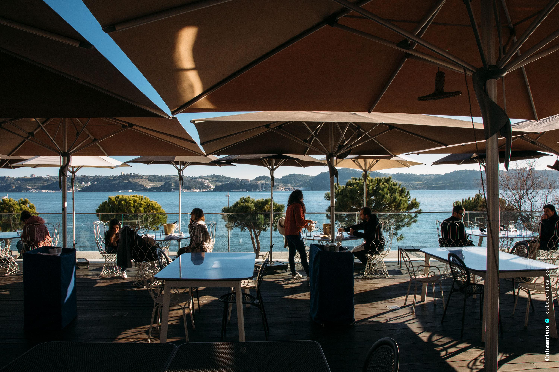 Terrace at the restaurant Darwin's Cafe in Belém Lisbon