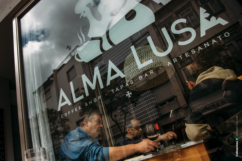 Outside window of the restaurant Alma Lusa in Bragança, Portugal