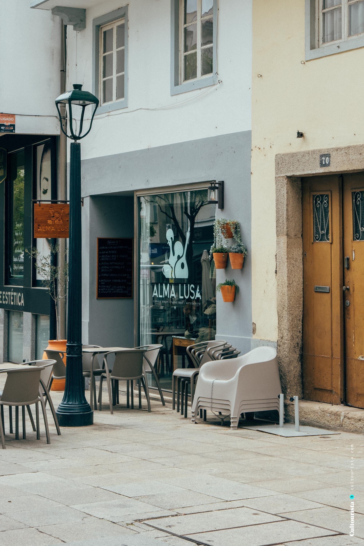 Terrace of the restaurant Alma Lusa in Bragança, Portugal