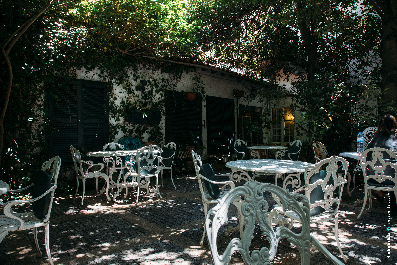 Garden of the restaurant Solar Bragancano, in Braganca, Portugal