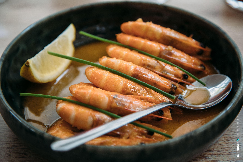 Shrimps at the restaurant Alma Lusa in Bragança, Portugal