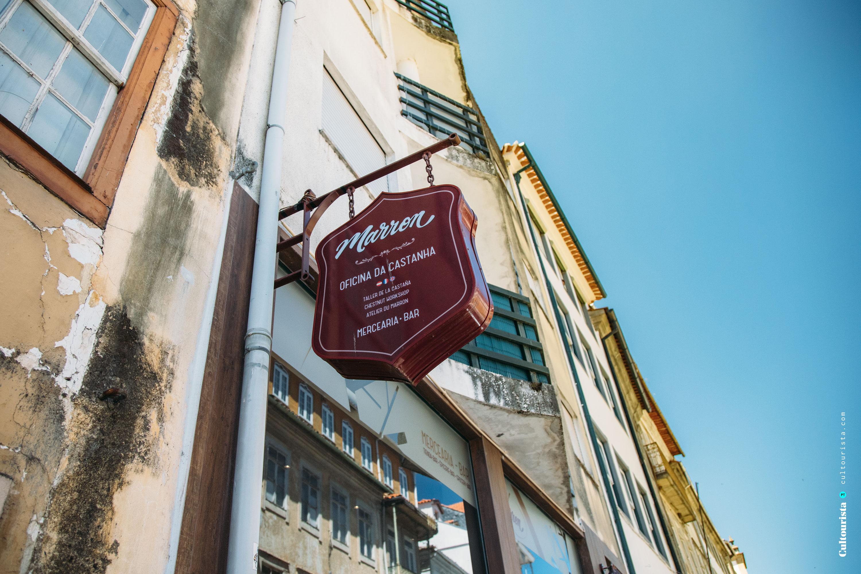 Sign outside the shop Marron in Bragança, Portugal