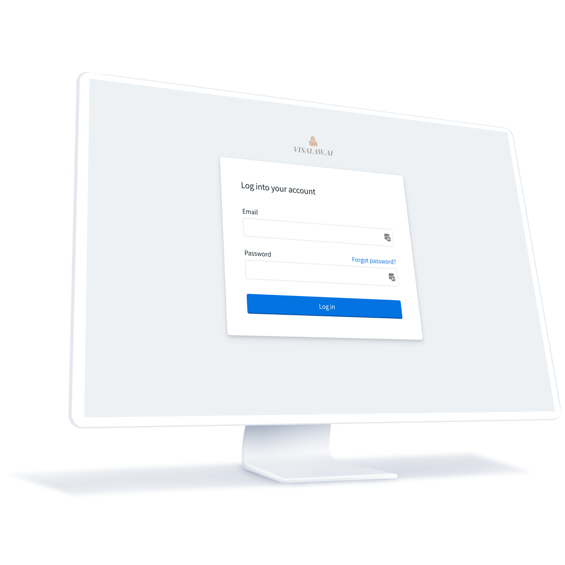 A computer screen with the Visalaw.AI login page opened.