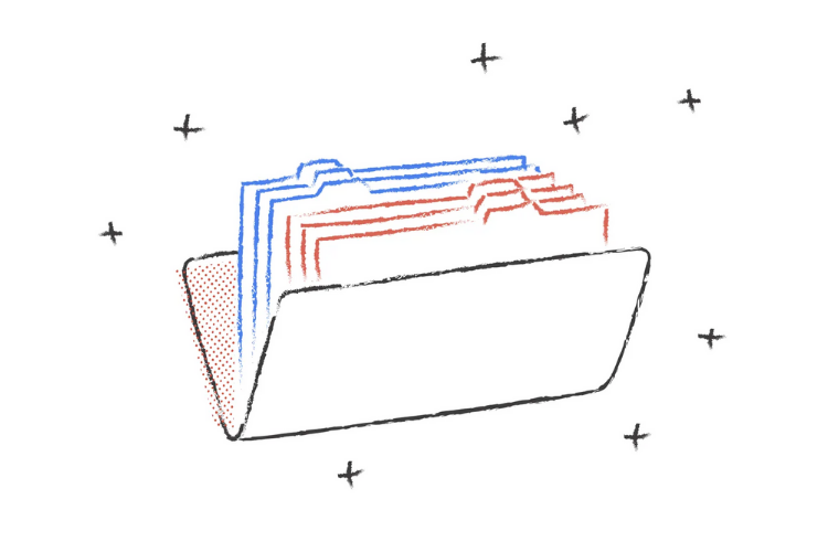 illustrated folder with blue and red files