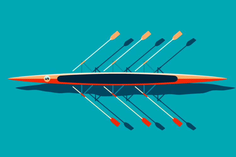 graphic of a row boat in motion