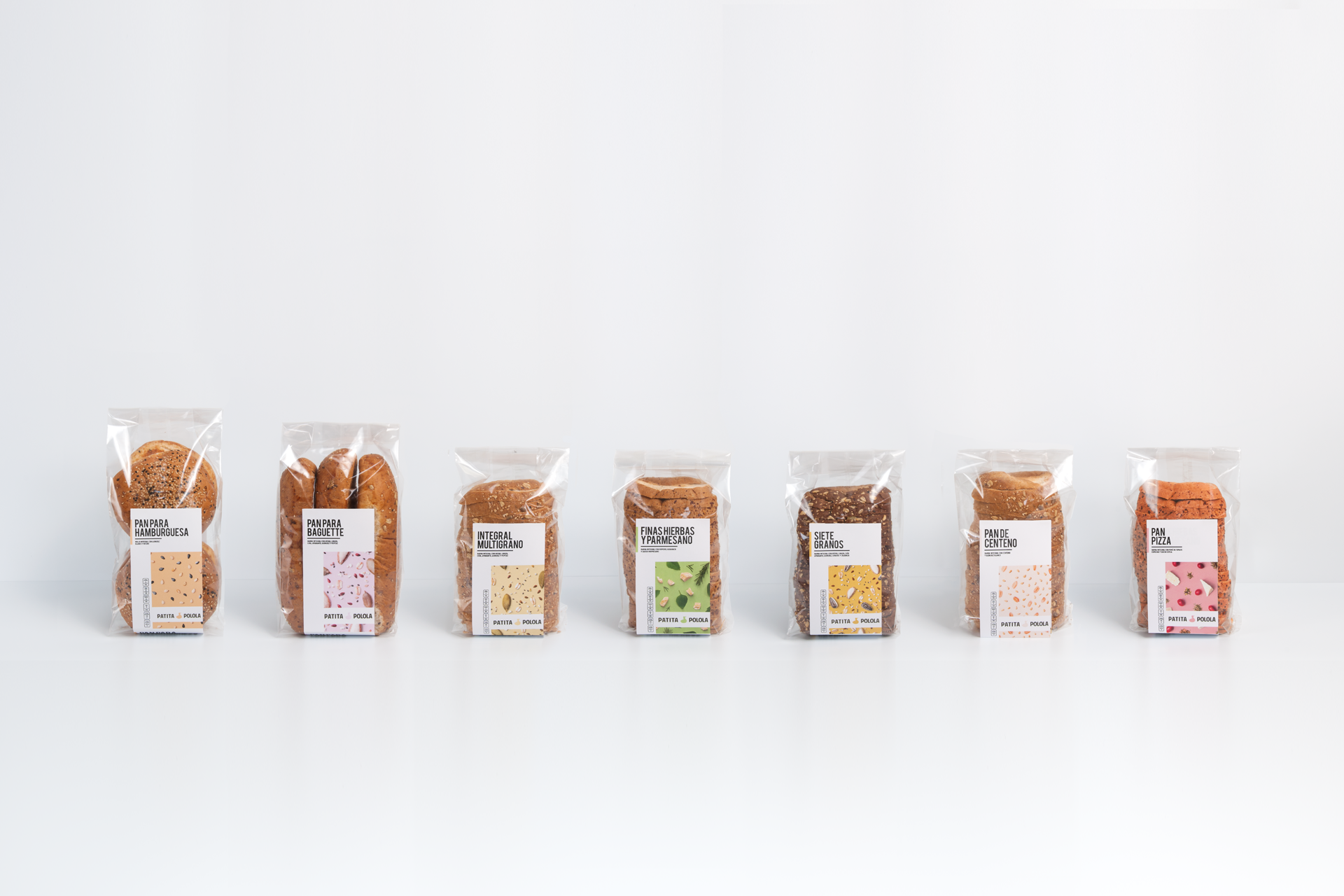 We were asked to redesign their old packaging, they needed a cleaner look and a system that helped identify their variety of breads in an easier way.