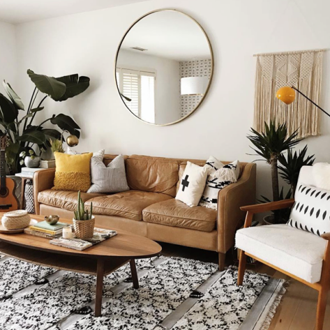 modern living room with plants and mirror
