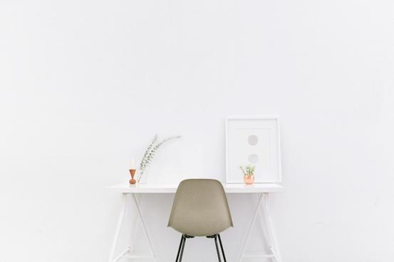 minimalist desk arrangement