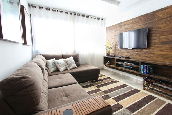 floating media console on living room wall