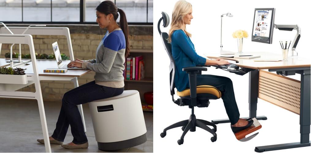 two women sitting in ergonomic desk seats