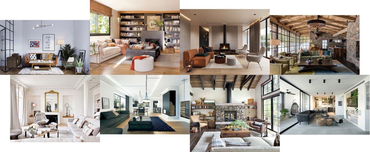 collage of various living room styles