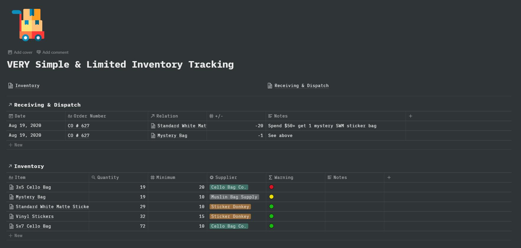 Super simple inventory management