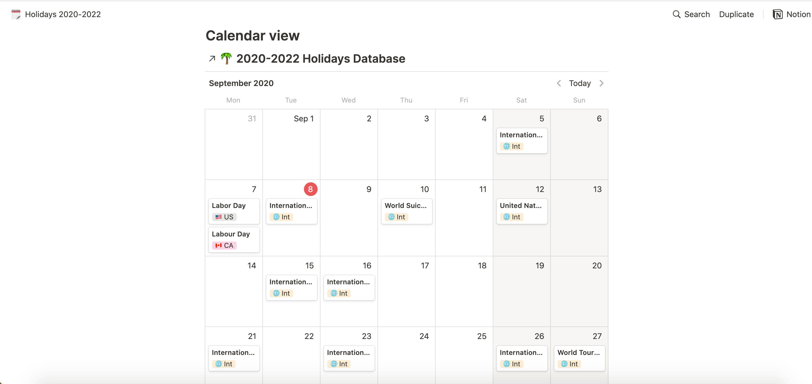 Holidays 2020-2022
