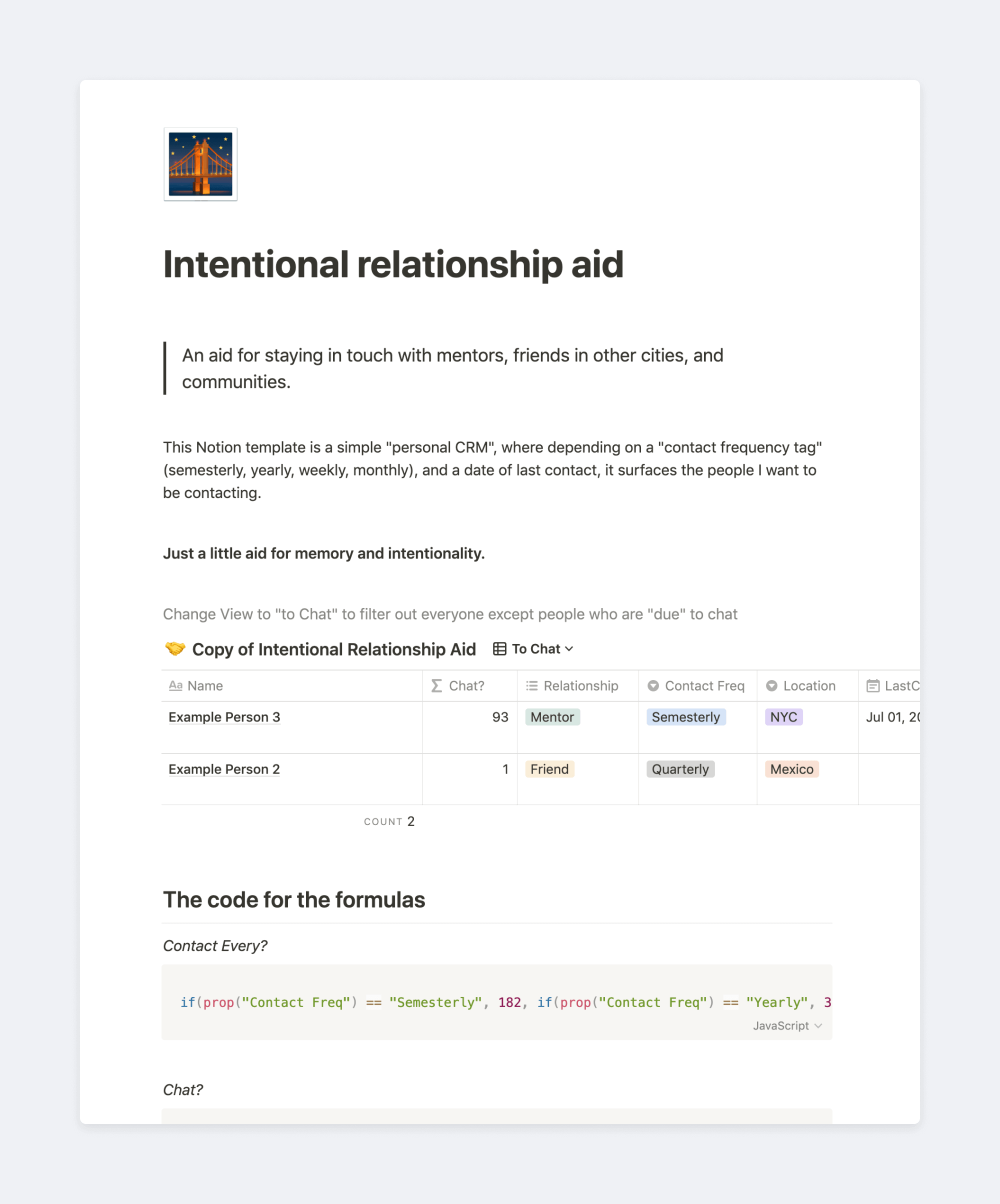 Intentional relationship aid