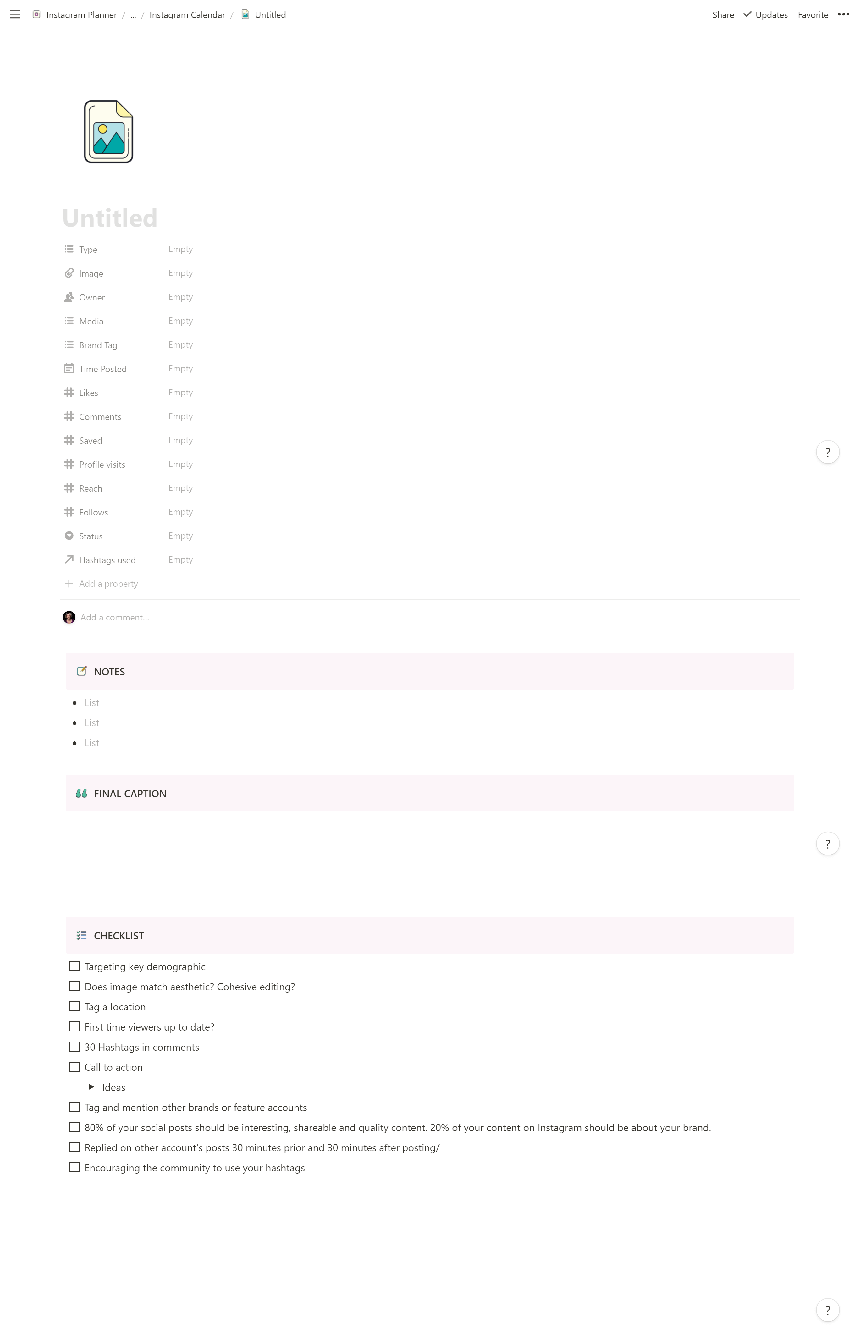 Instagram Planner and Calendar