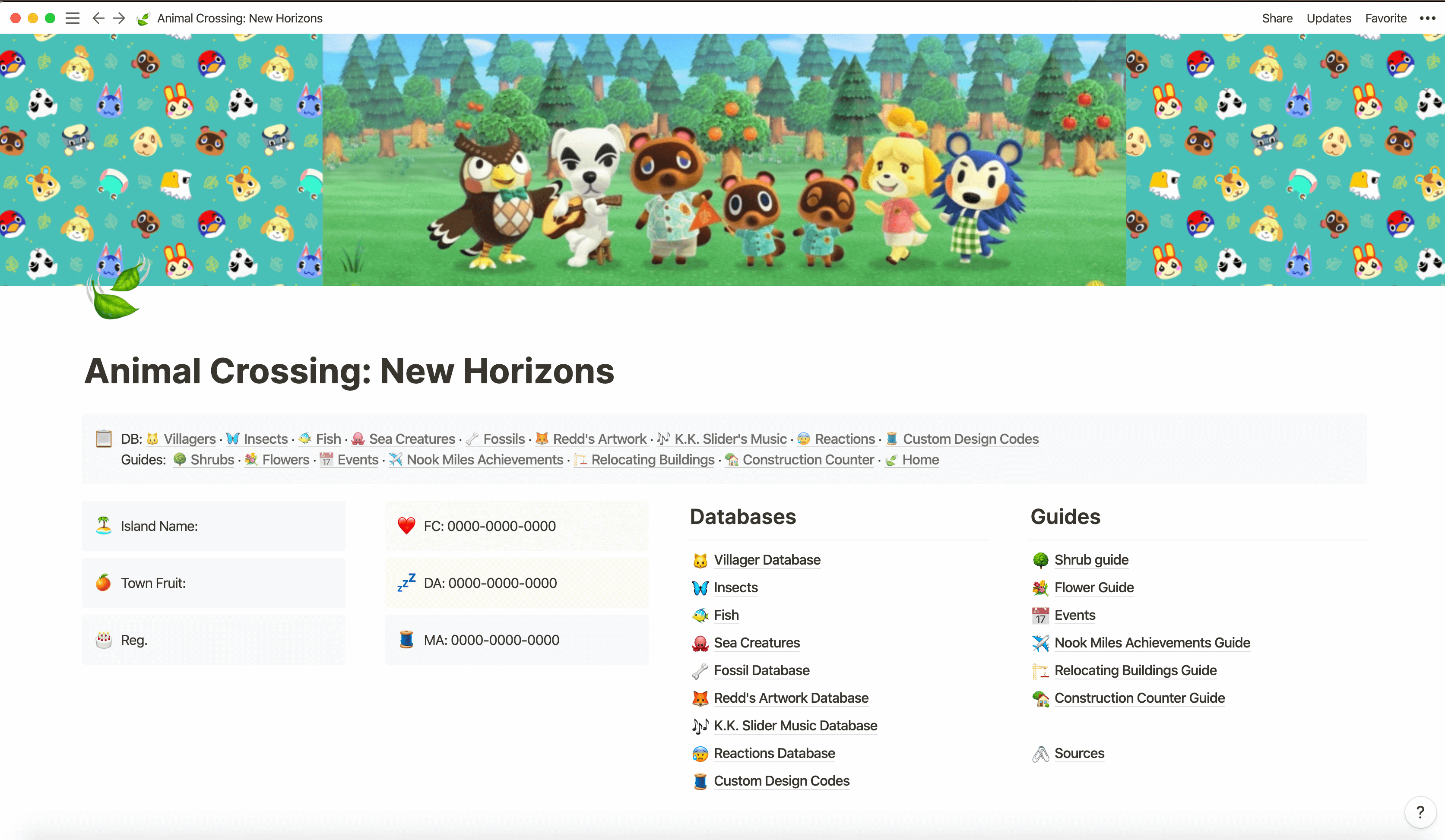 Animal Crossing NH Database