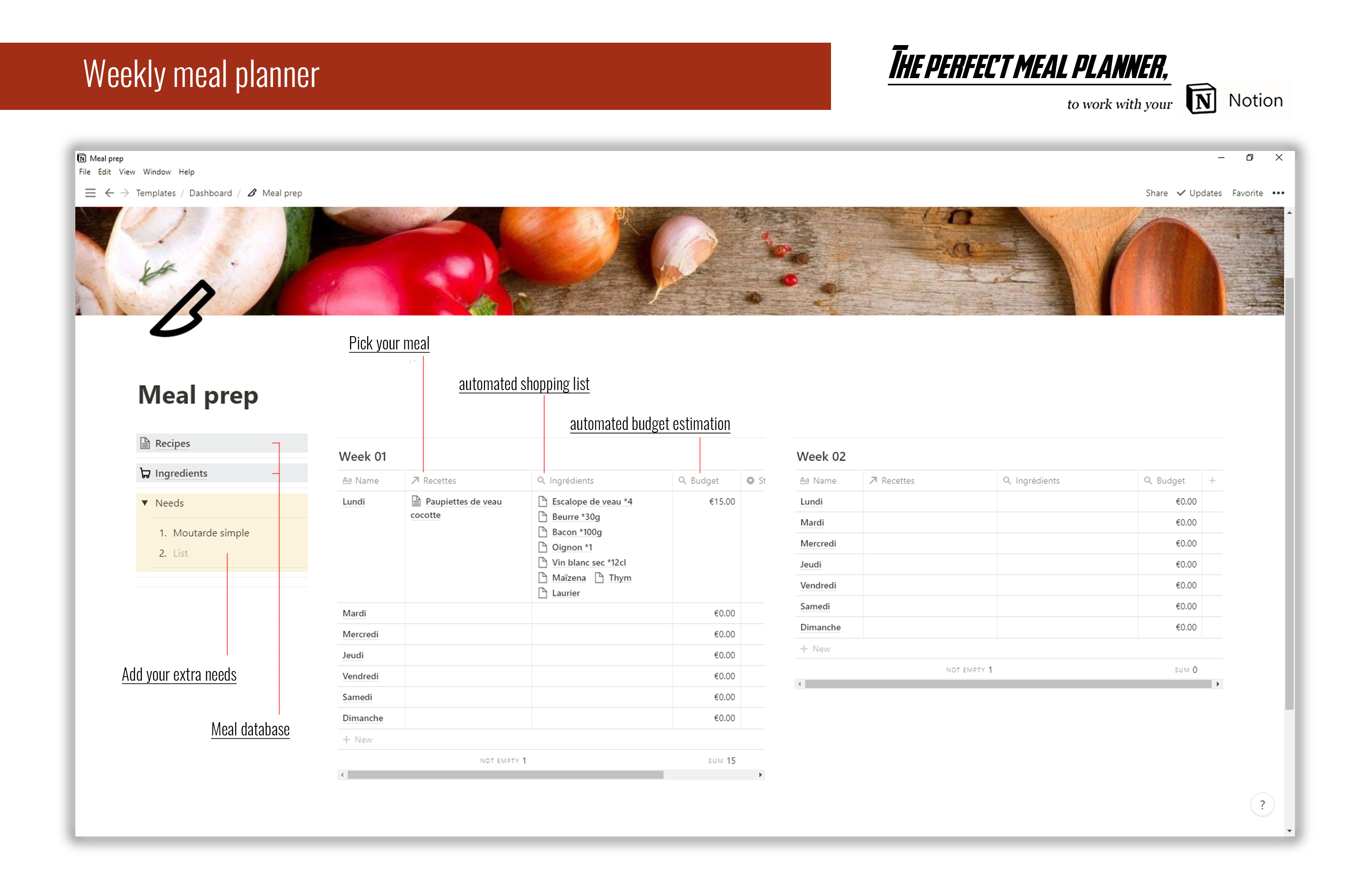 The perfect Notion Meal planner