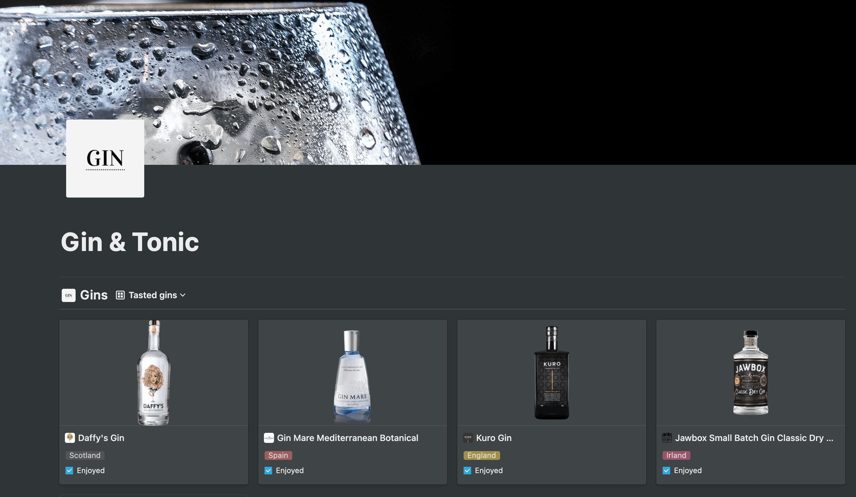 Gin & tonic database