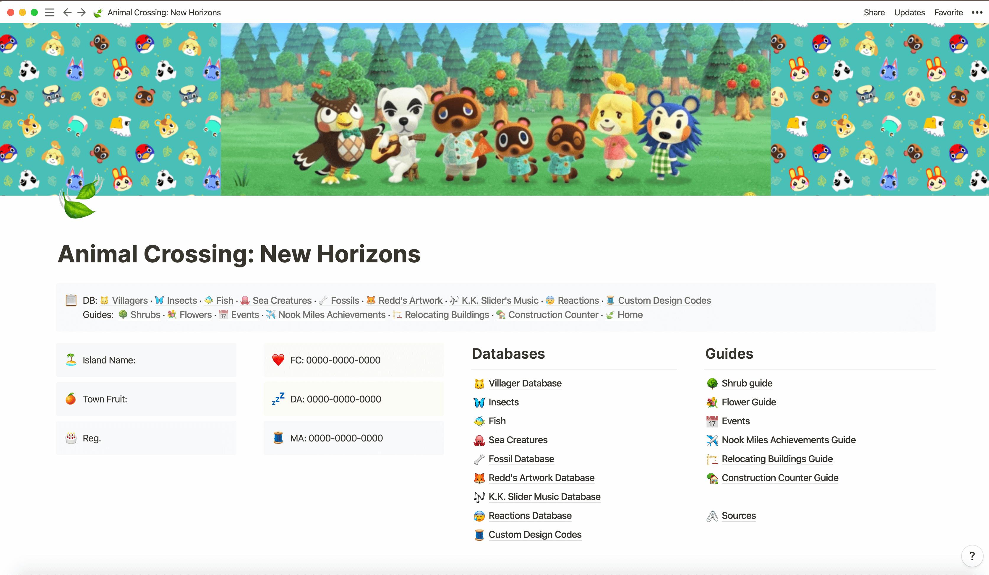 Animal Crossing NH Database