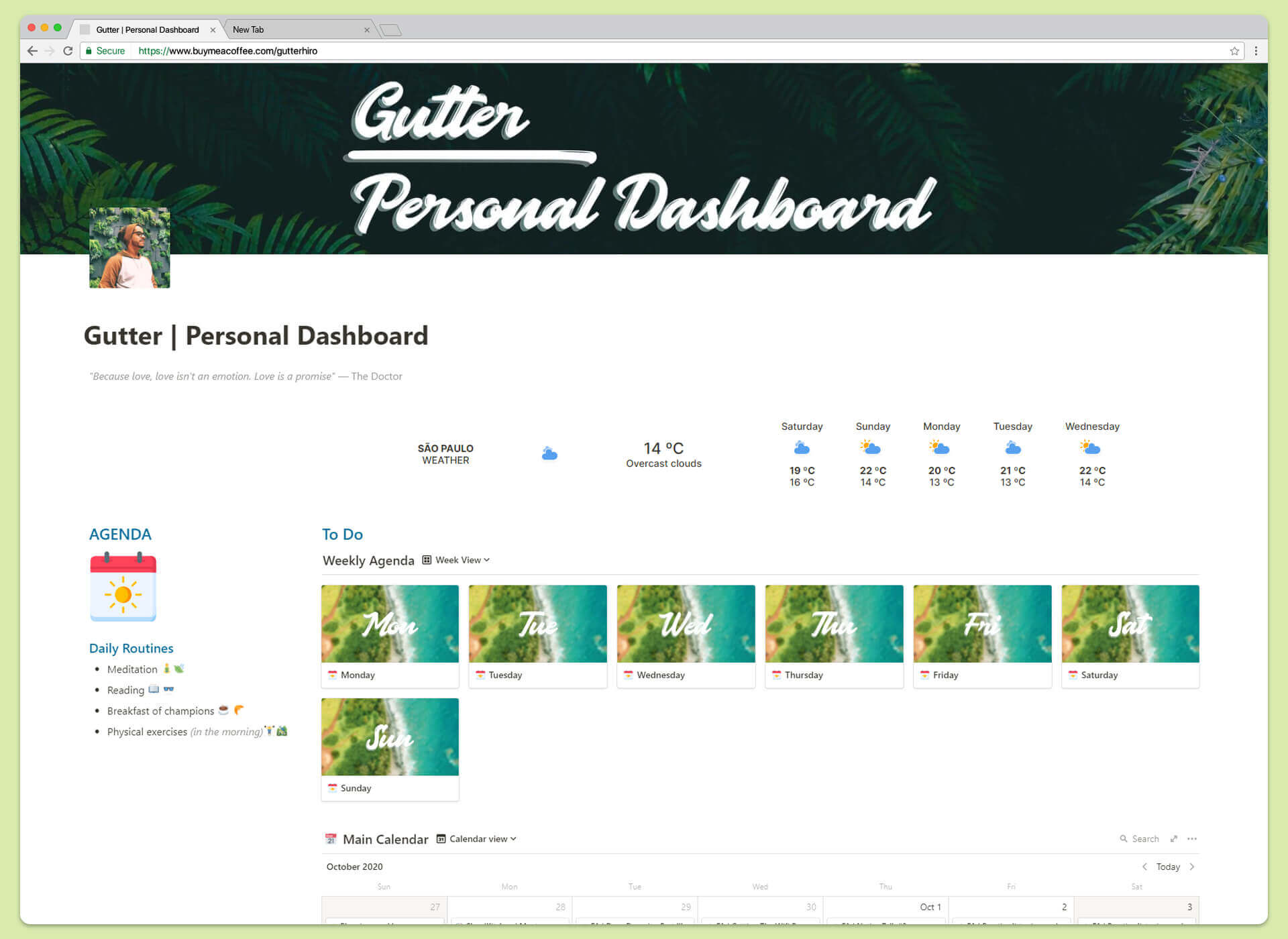 Personal Dashboard - Target your objectives