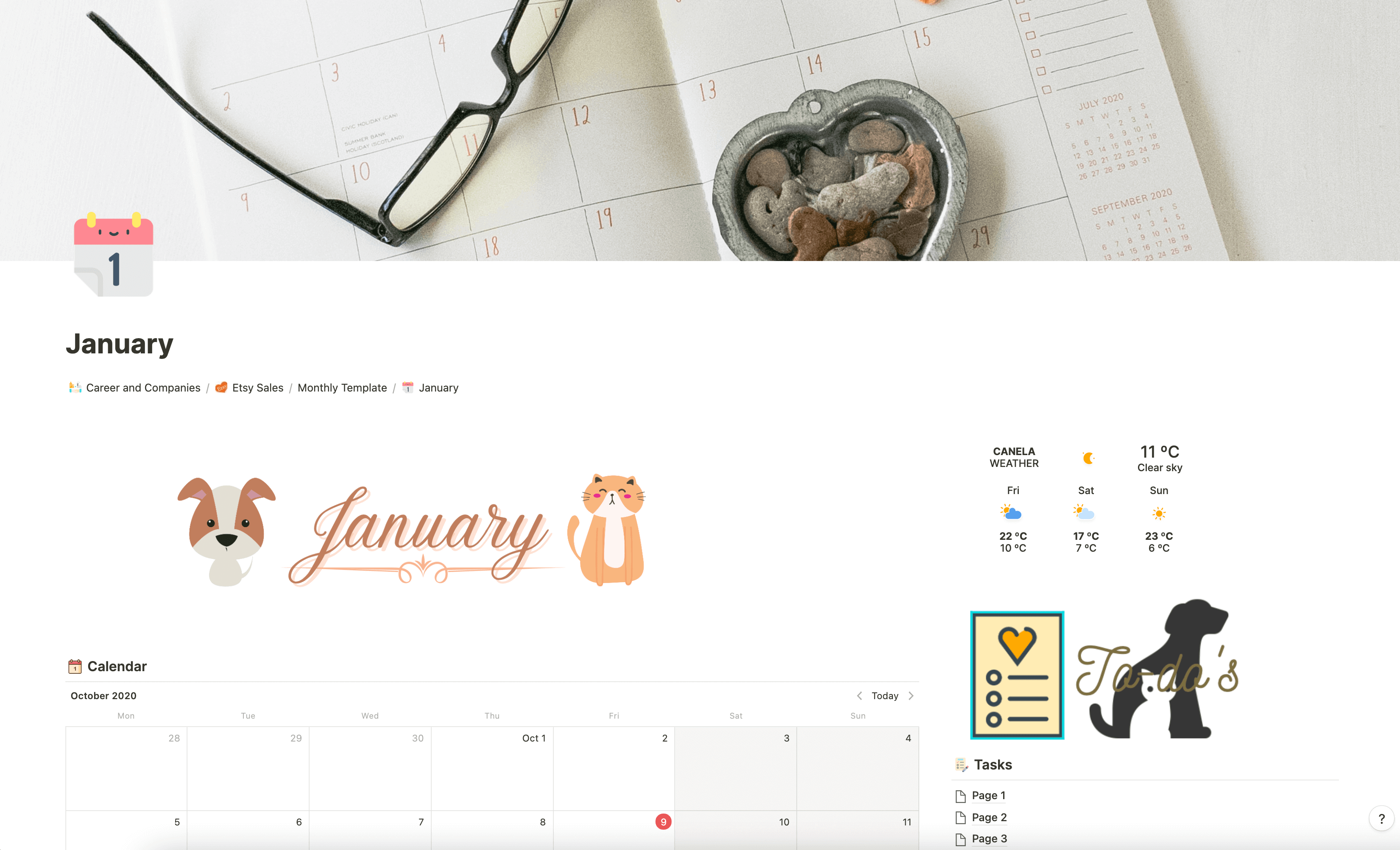 MONTHLY PLANNER for NOTION