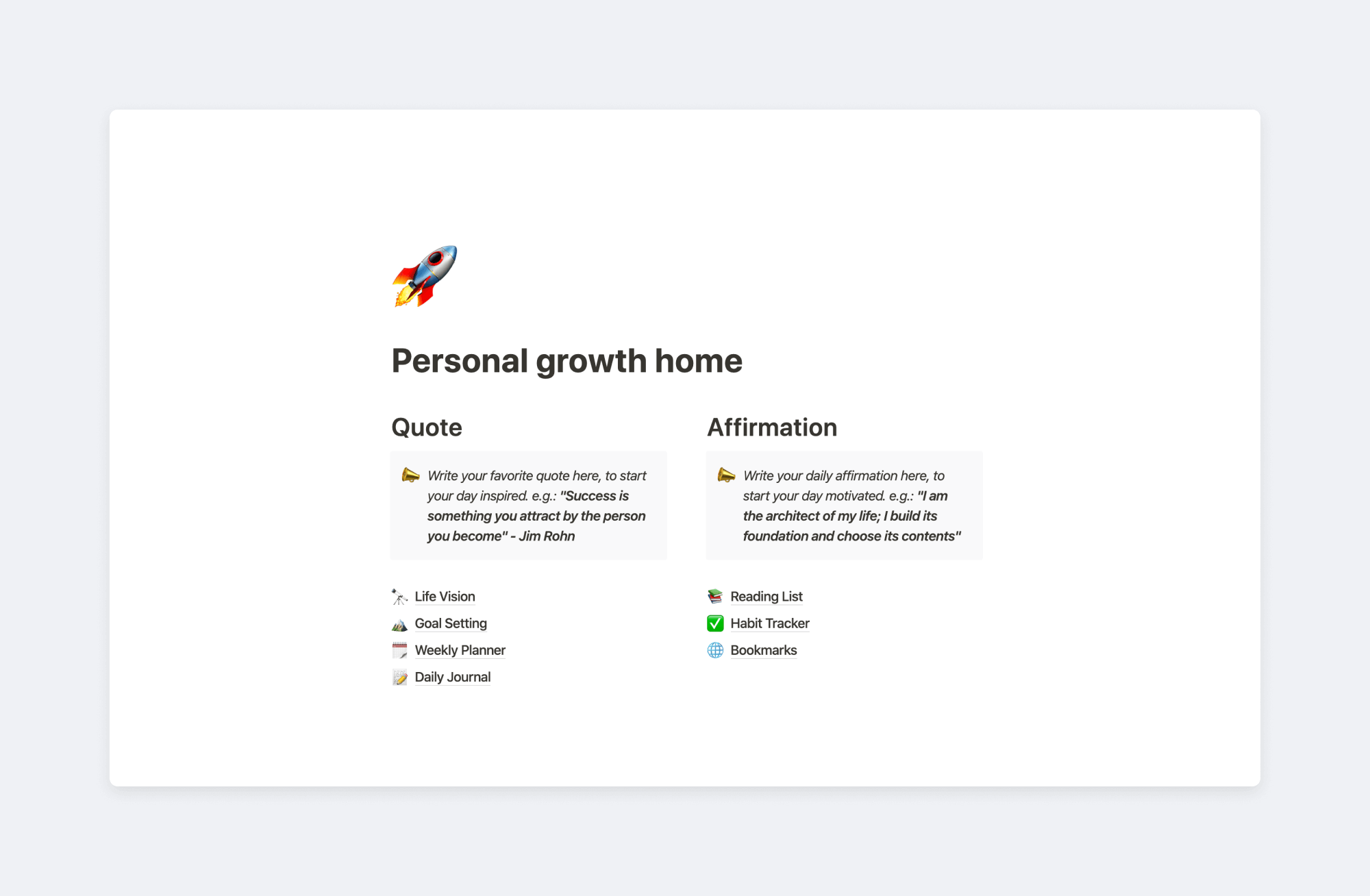 Personal growth home