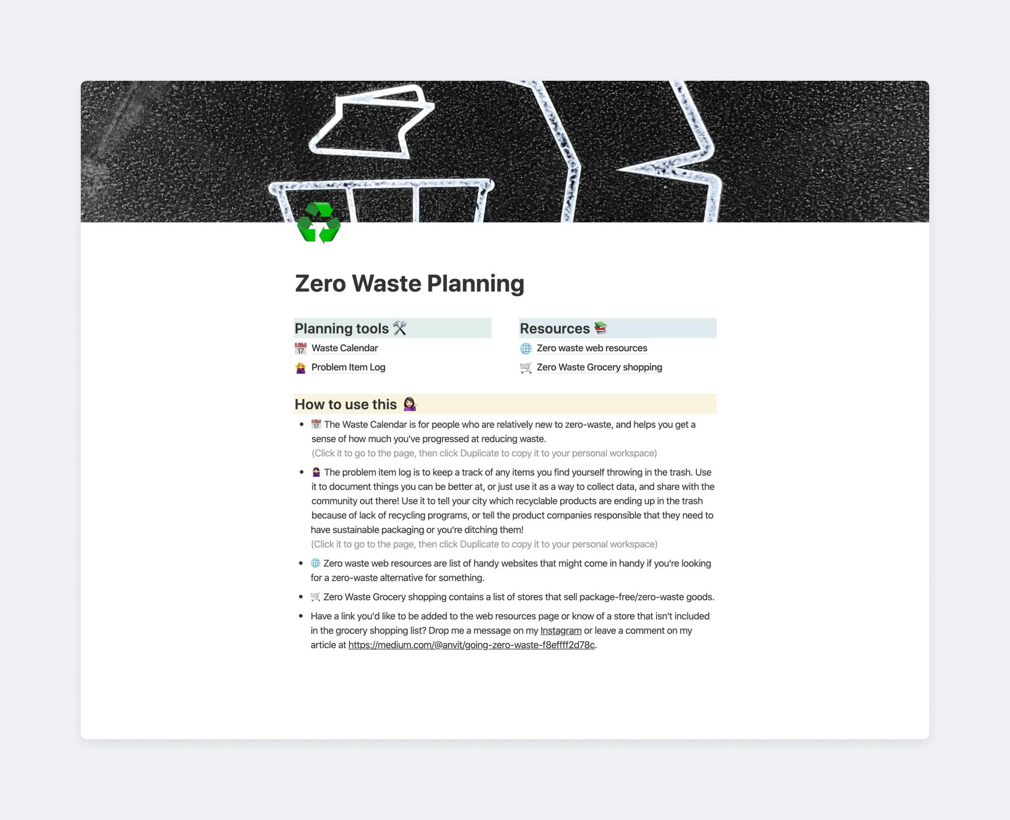 Zero waste planning