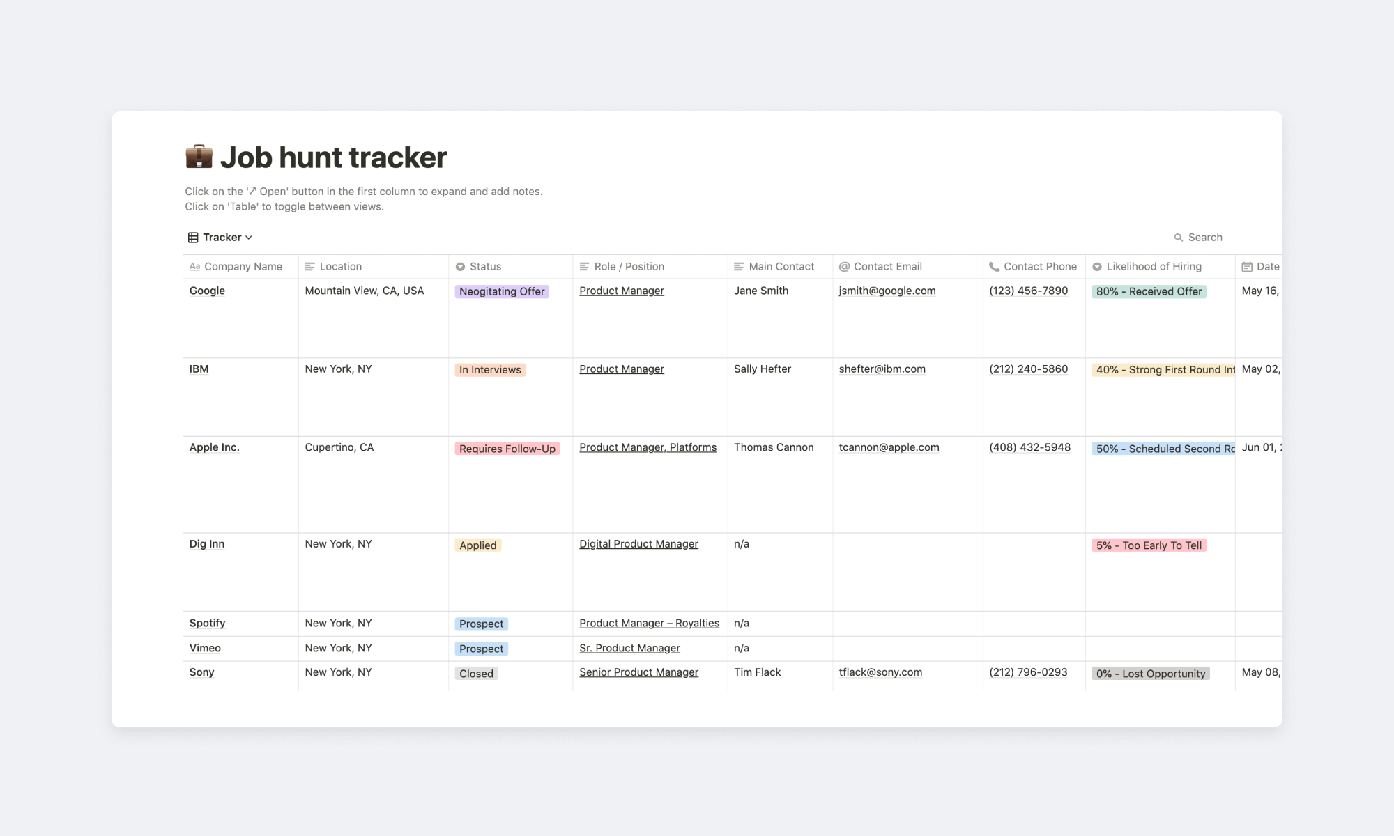 Job hunt tracker