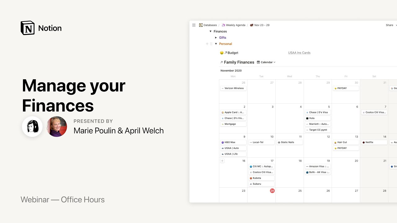 Notion Office Hours: Manage your Finances 💵