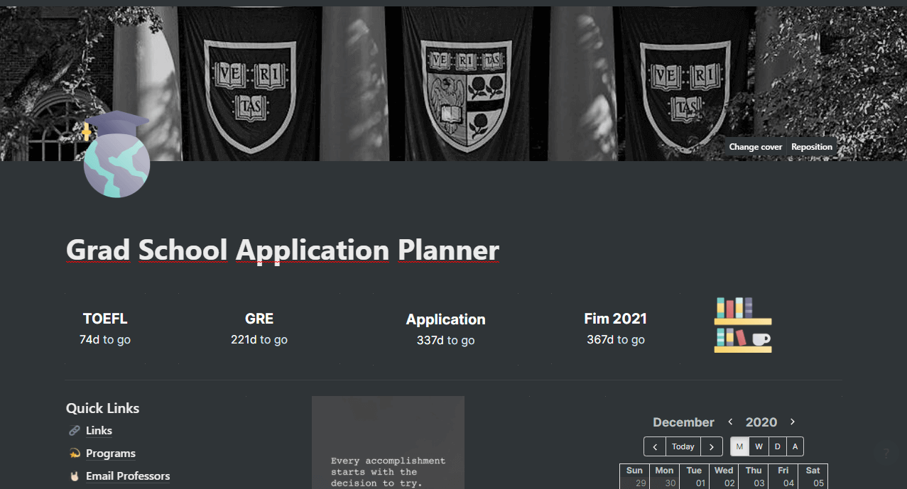 Grad School Application Planner