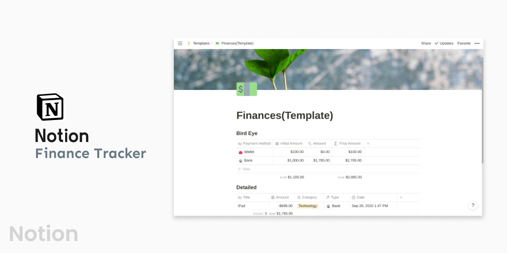 Notion Finance Tracker