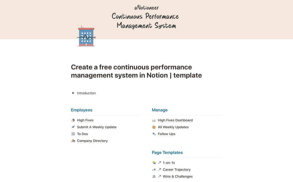 Continuous Performance Management System template