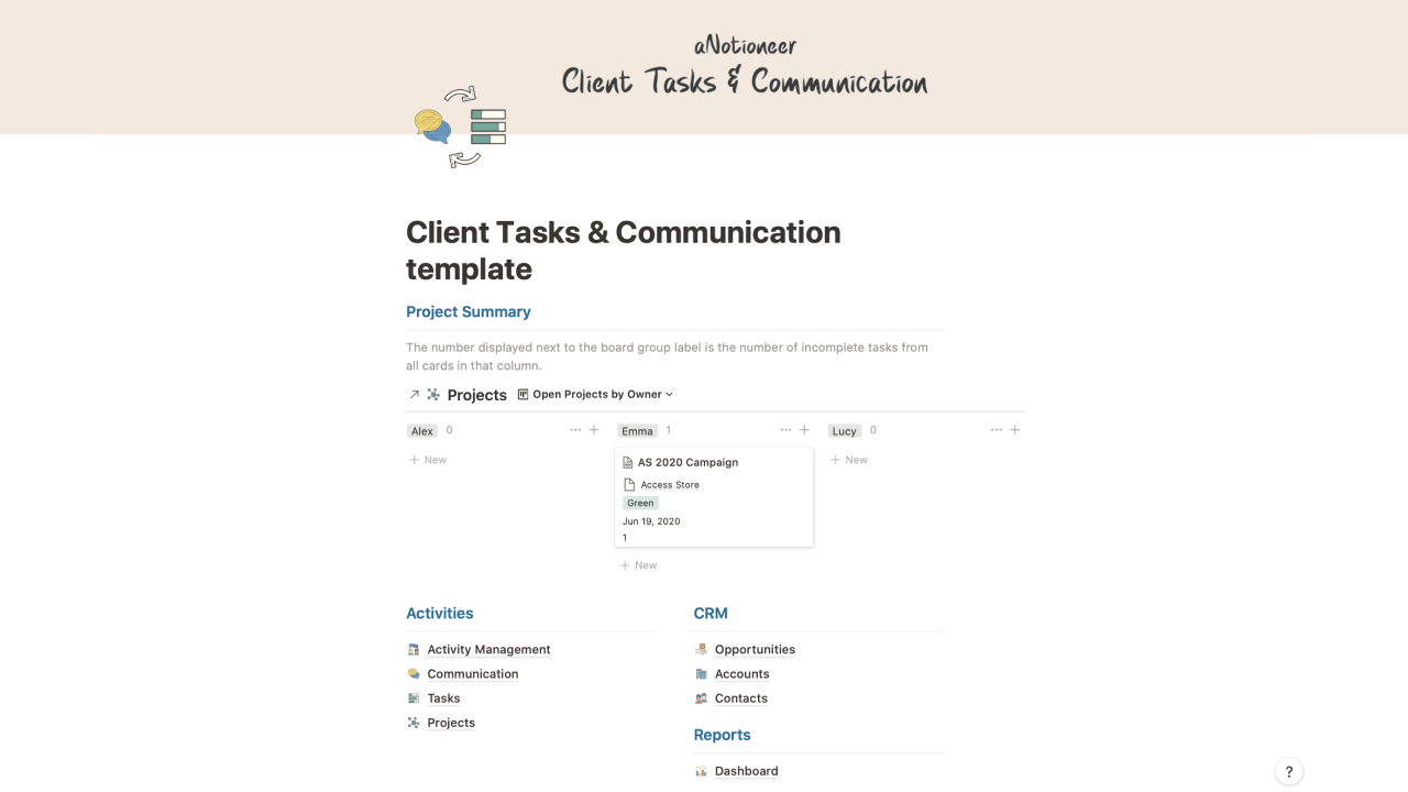 Client Tasks & Communication Manager