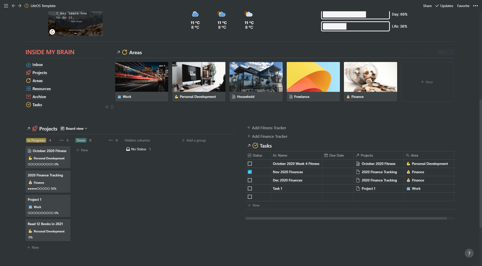 Notion All-in-one Life & Project Management Template