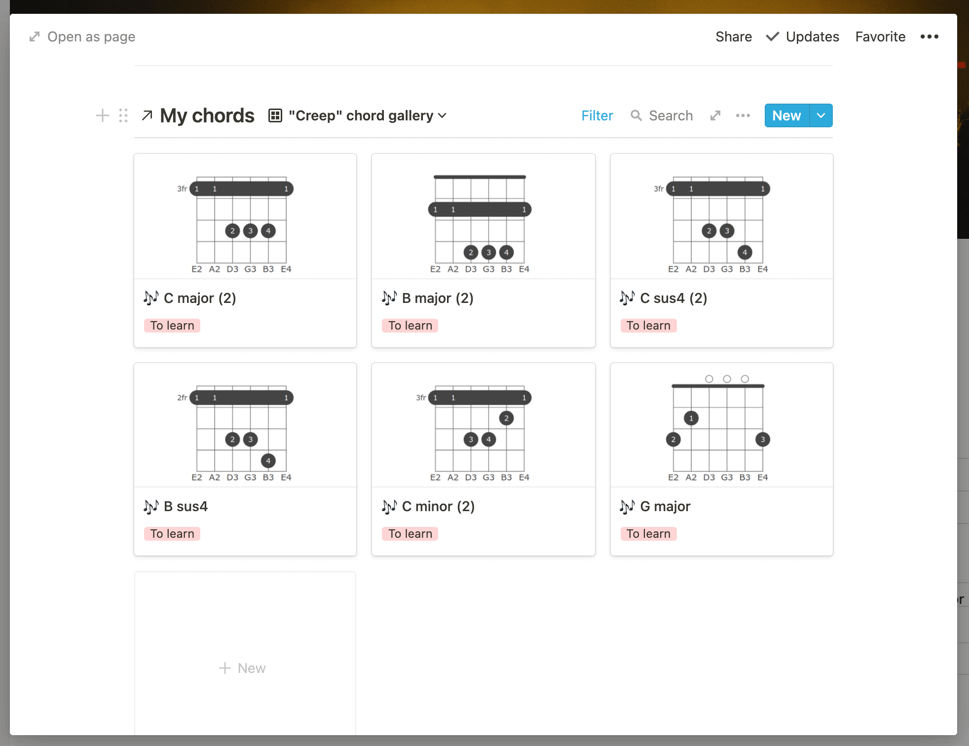 Learning guitar Notion template