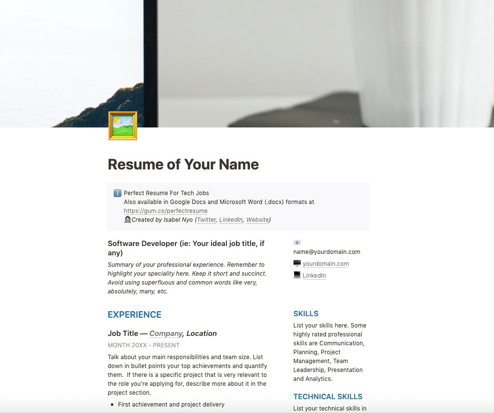 Resume Template for Tech Jobs