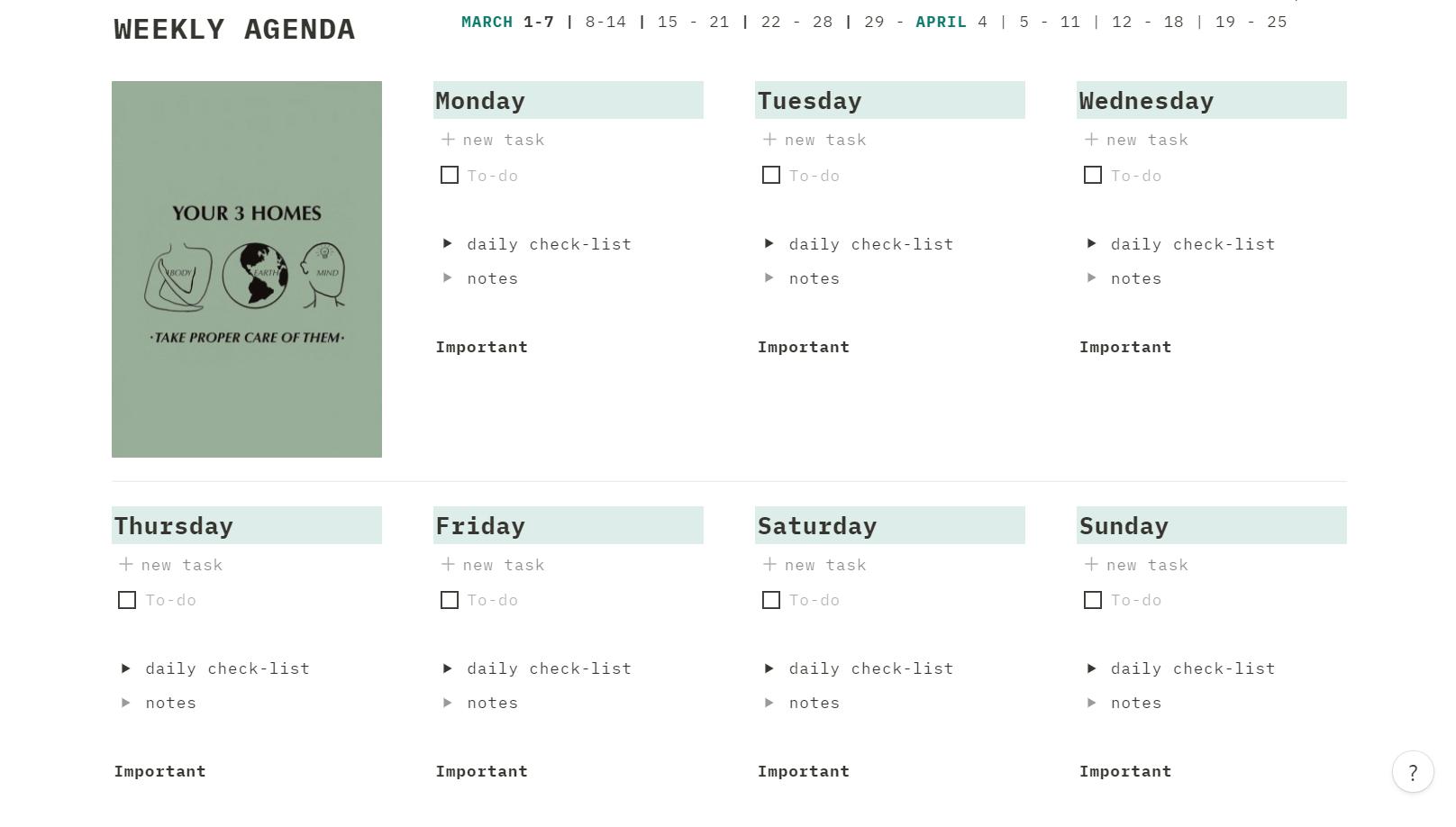workspace (weekly planning)